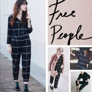 Free People Size S Black Plaid Jumpsuit Checkered